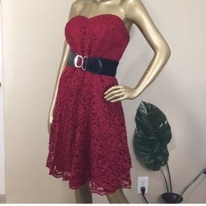 David's Bridal Apple Red Strapless Lace Dress